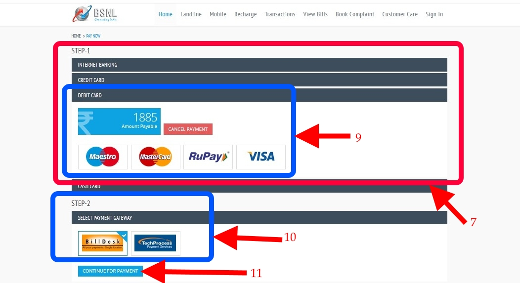 Bsnl Bill Payment payment mode2