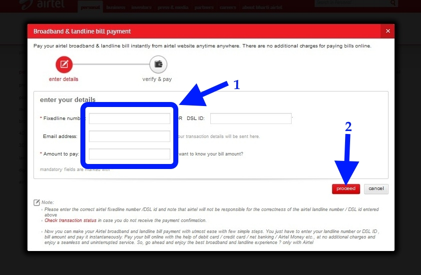 airtel Broadband bill payment Online