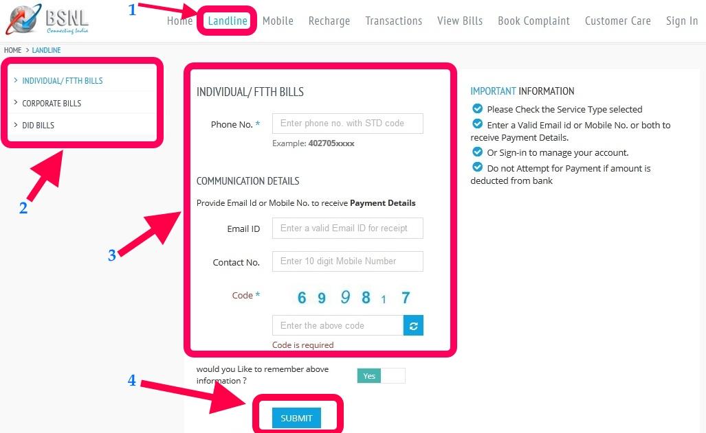 bsnl online payment