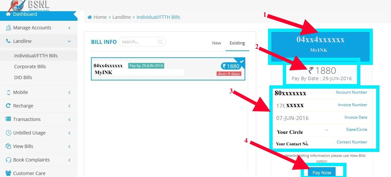 Bsnl portal Landline online payment pay now