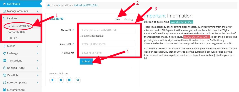 Bsnl Bill Payment using Bsnl Portal