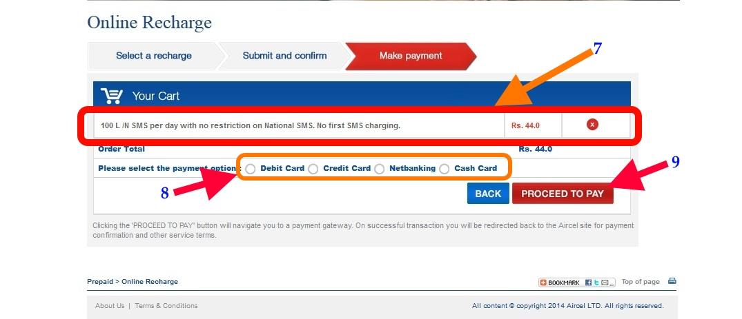 Aircel Online recharge payment
