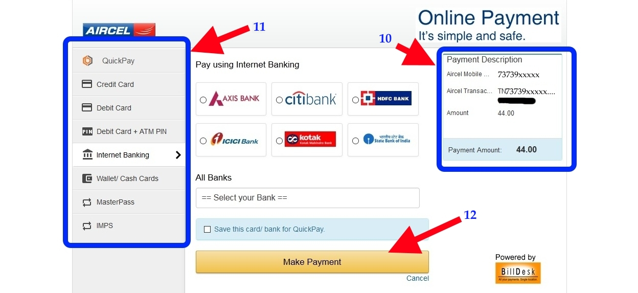 Aircel online recharge Billdesk