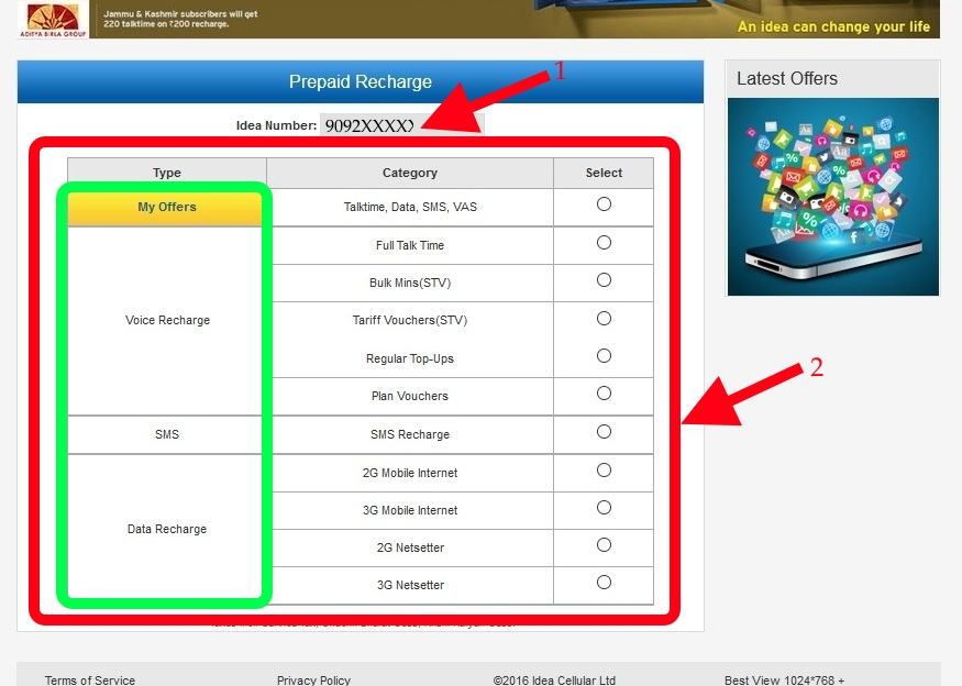 Idea online Recharge Offers