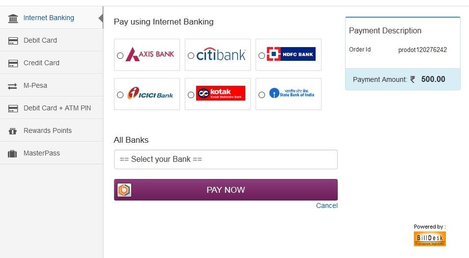 Vodafone online recharge billdesk