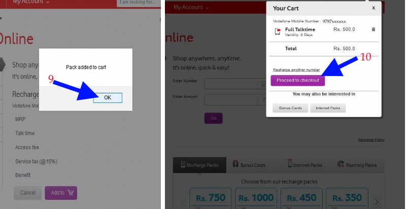 Vodafone online recharge cart