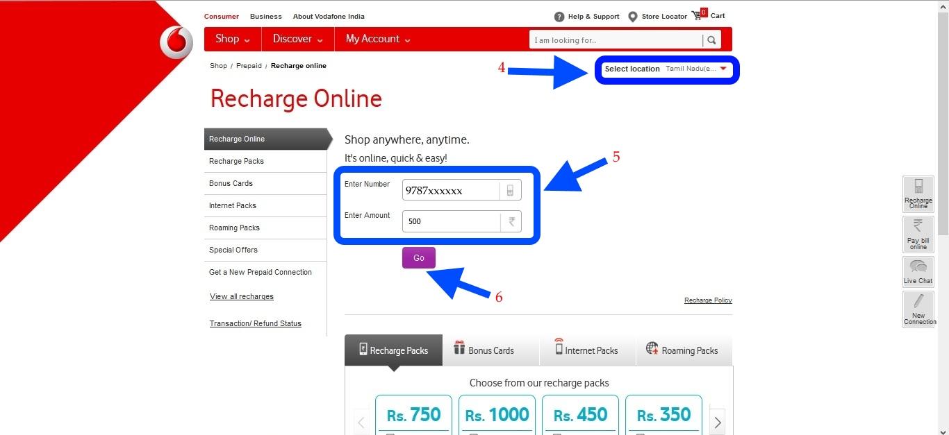 Vodafone online recharge1