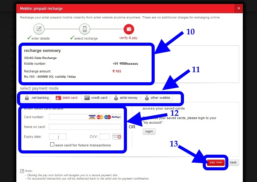 airtel online recahrge verify before pay
