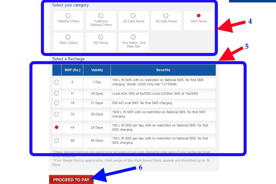 select recharge aircel online recharge