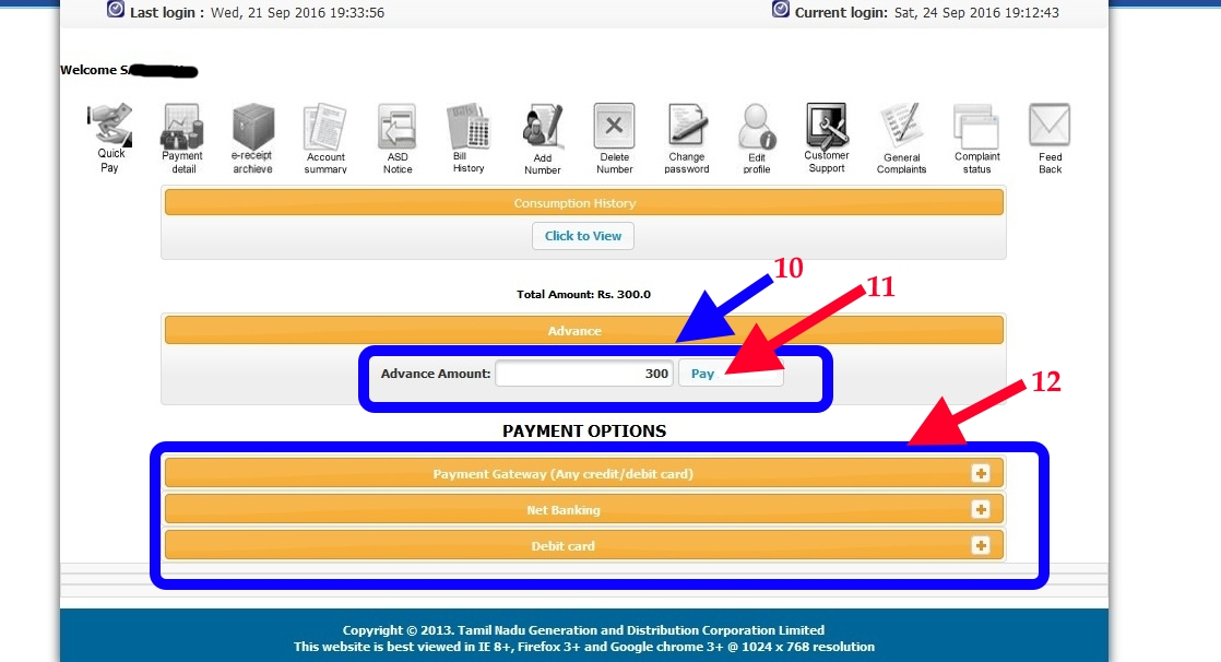 TNEB Online Payment Selection page